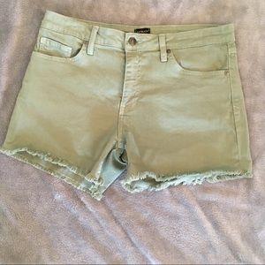 Just Black Olive frayed hem shorts!